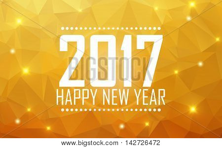Greeting card Happy New Year 2017. Polygonal background, stars, holiday, shine. Vector illustration
