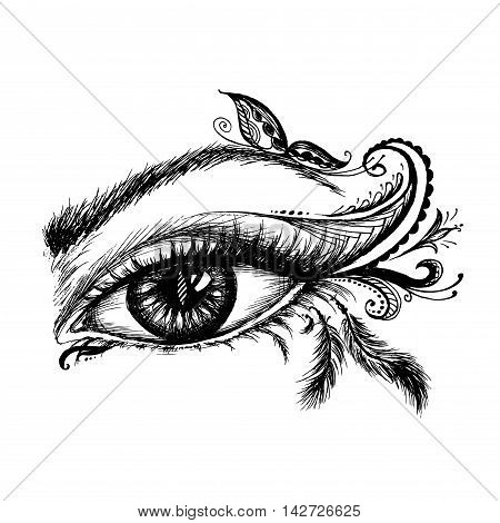 Eye hand drawn with doodle make up vector illustration on white background