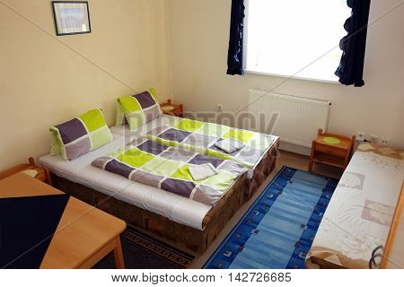 POPRAD SLOVAKIA - JULY 08.2016: Interior of room with two beds in the pension in Poprad town High Tatras Slovakia.