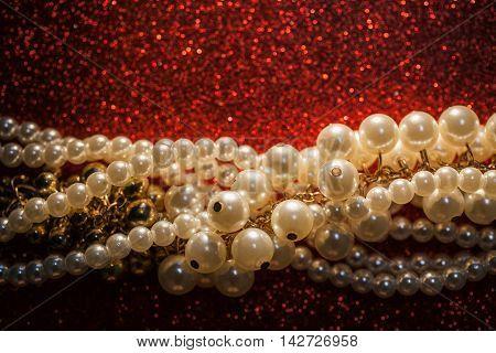 Luxury jewelry background with gorgeous creamy necklace