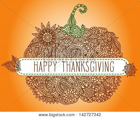 Stylized lacy doodle pumpkin with hand drawn word 'Thanksgiving' over it.