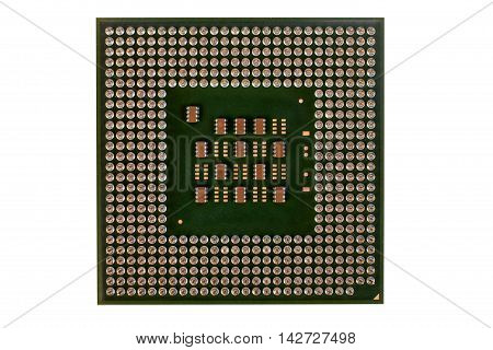 Computer processor isolated on white background closeup