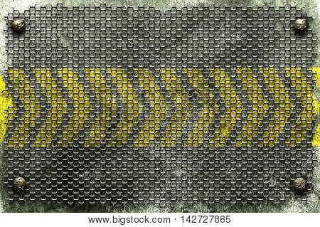 grunge metal background. rivet with black grille on metal plate and yellow line painted. danger zone material design 3d illustration.