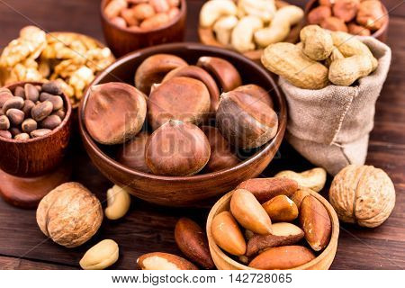Bowl of chestnuts and other various nuts