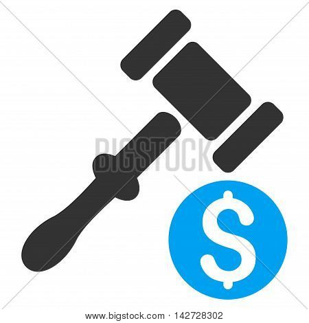 Auction icon. Vector style is bicolor flat iconic symbol with rounded angles, blue and gray colors, white background.
