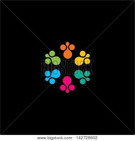 Isolated abstract colorful flower vector logo. Round shape sun illustration on the black background. Animal footsteps logotype. Cartoon icon