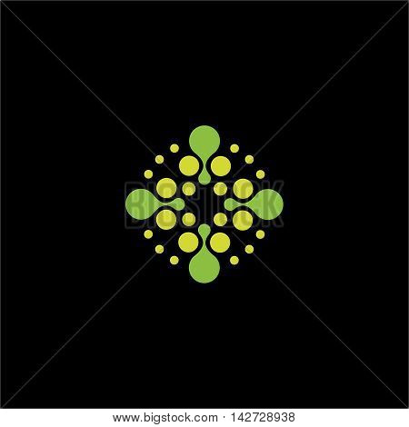 Isolated abstract green color dotted cross vector logo. Medical logotype. Ambulance and hospital icon. Arithmetic plus sign