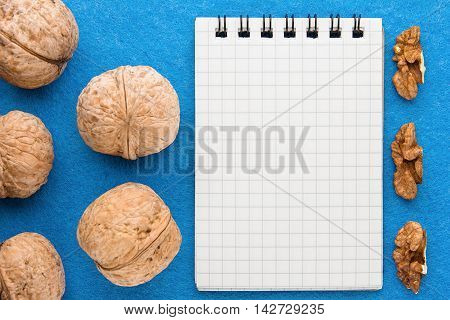 Menu background. Cook book. Recipe notebook with walnuts on a blue background