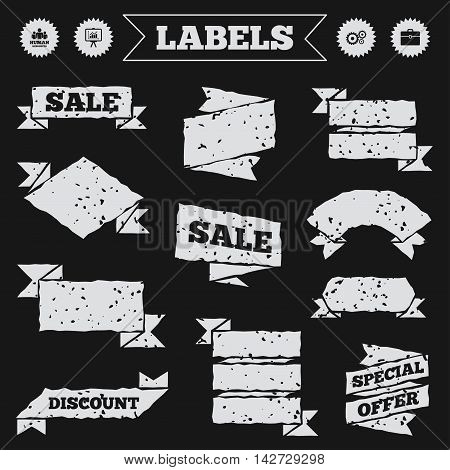 Stickers, tags and banners with grunge. Human resources and Business icons. Presentation board with charts signs. Case and gear symbols. Sale or discount labels. Vector
