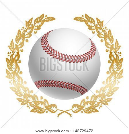 Baseball Ball in Golden Laurel Wreath. Realistic Vector Illustration. Isolated on White Background.