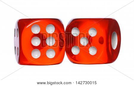 Red And White Dices Isolated On A White Background