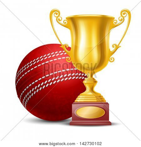 Realistic Golden Trophy Cup and Red Cricket Ball. Isolated on White Background. Winner Cup. Vector Illustration