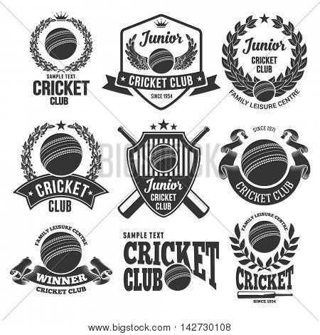 Set of Emblems, Logos and Labels on Cricket Theme and for Cricket Club. Vector Illustration. Isolated on White Background.
