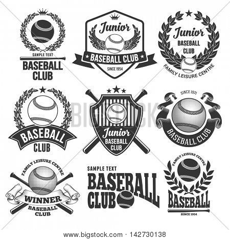 Set of Emblems, Logos and Labels on Baseball Theme and for Baseball Club. Vector Illustration. Isolated on White Background.