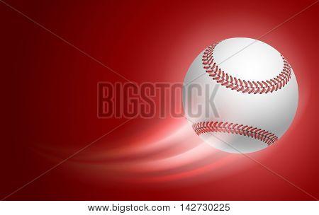 Horizontal Card for Baseball Club with Flying Baseball Ball on blue Background. Realistic Editable Vector Illustration.