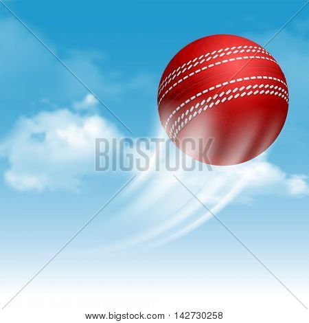 Cricket Ball Flying on Cloudy Sky Background. Realistic Vector Illustration.