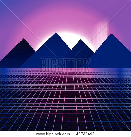 Mountains on a background of pink neon lights. Vector illustration in retro style of 80 for poster of disco party flyer ticket. beautiful sunset with the northern lights. grid cyberspace