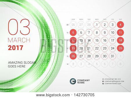 Desk Calendar For 2017 Year. March. Week Starts Sunday. Vector Design Print Template With Abstract C
