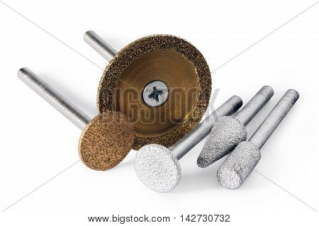 diamond tools of roundcylindrical and cone shaped for stone carving on electric or pneumatic hand machines on white background isolated