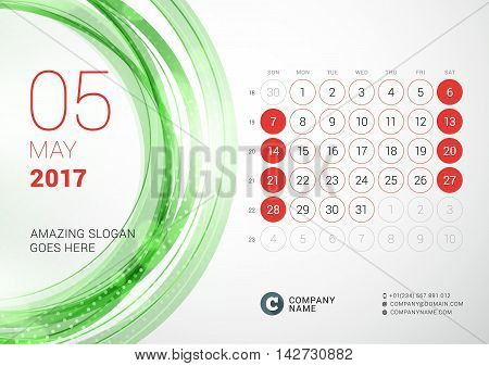 Desk Calendar For 2017 Year. May. Week Starts Sunday. Vector Design Print Template With Abstract Cir