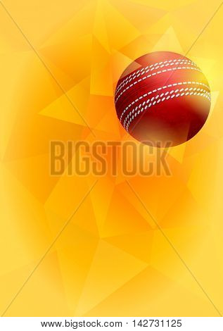 Vertical Background on Cricket Theme with Flying Red Cricket Ball on Unusual Triangular Background. Realistic Editable Vector Illustration.