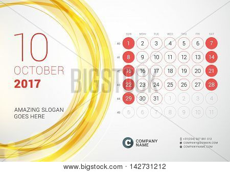 Desk Calendar For 2017 Year. October. Week Starts Sunday. Vector Design Print Template With Abstract