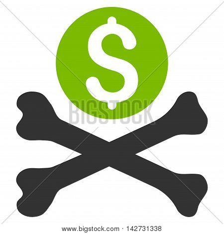 Mortal Debt icon. Vector style is bicolor flat iconic symbol with rounded angles, eco green and gray colors, white background.