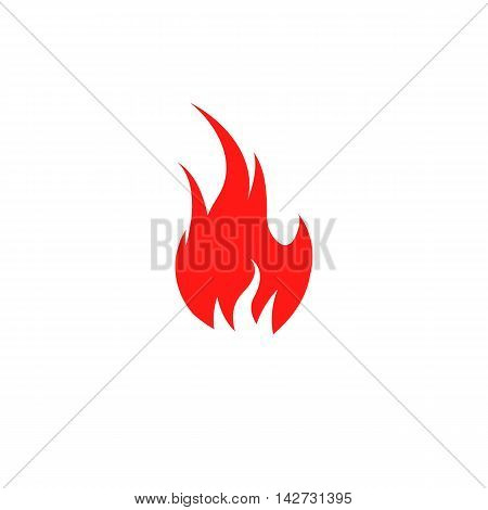 Isolated red color flame on the white background vector logo. Fire spurts logotype.Heat icon. Fireplace symbol. Bonfire illustration. Spicy food sign. Danger warning