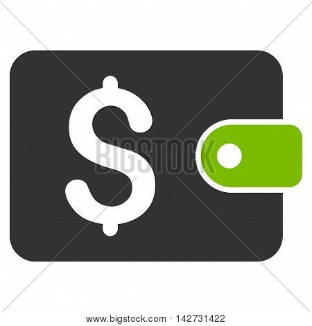 Purse icon. Vector style is bicolor flat iconic symbol with rounded angles, eco green and gray colors, white background.