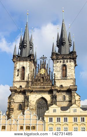 Church of Our Lady before Tyn towers in Prague, Czech Republic