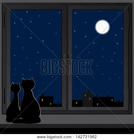 Two cats sitting on a windowsill and look at the moon.