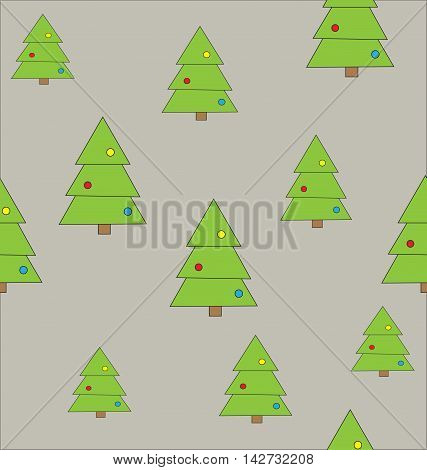 Seamless pattern green Christmas trees with colorful balls on the gray background.Can be used to create paper for wrapping gifts and fabrics for children's clothes, home textiles