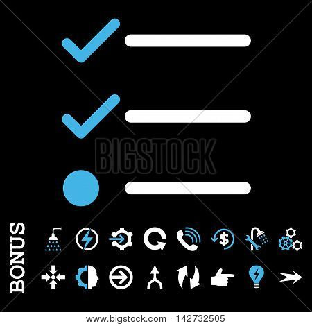 Checklist vector bicolor icon. Image style is a flat iconic symbol, blue and white colors, black background.