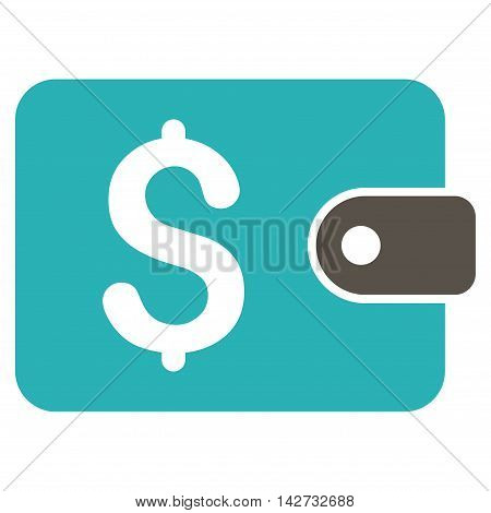 Purse icon. Vector style is bicolor flat iconic symbol with rounded angles, grey and cyan colors, white background.