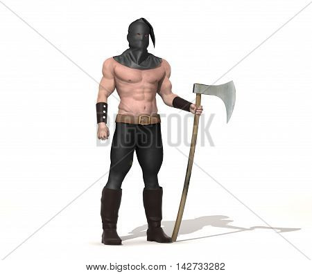 3d illustration of an executioner with ax