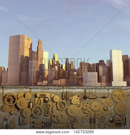 3d illustration of a city with clockwork