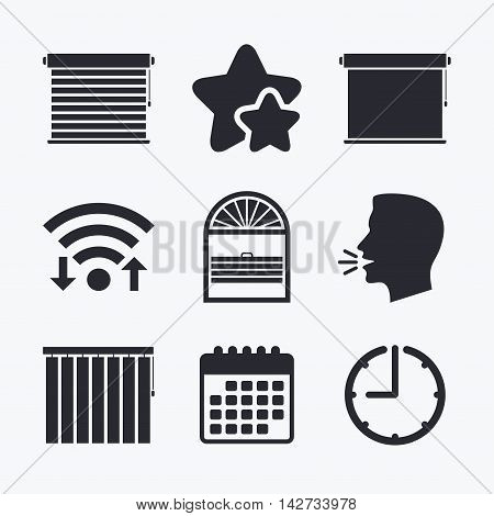 Louvers icons. Plisse, rolls, vertical and horizontal. Window blinds or jalousie symbols. Wifi internet, favorite stars, calendar and clock. Talking head. Vector