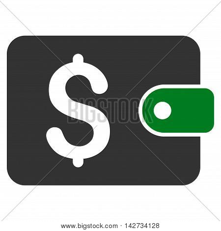 Purse icon. Vector style is bicolor flat iconic symbol with rounded angles, green and gray colors, white background.
