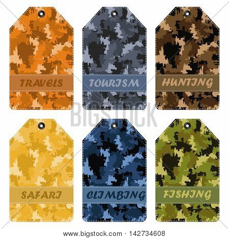 vector set khaki labels in different colors with the words: fishing hunting hiking traveling climbing safari tourism
