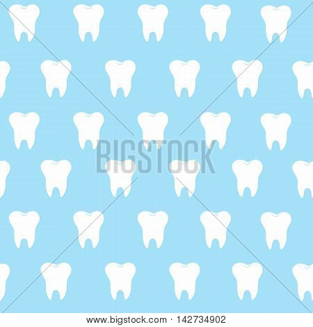 simple cartoon tooth pattern hite silhouette on a blue background teeth vector illustration icon logo first tooth. Medical dental office symbols. Care the oral cavity dental health