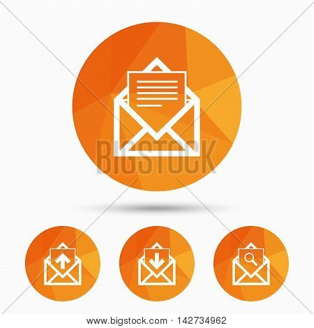 Mail envelope icons. Find message document symbol. Post office letter signs. Inbox and outbox message icons. Triangular low poly buttons with shadow. Vector