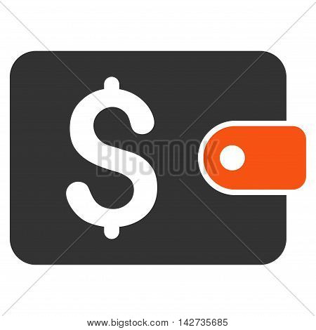 Purse icon. Vector style is bicolor flat iconic symbol with rounded angles, orange and gray colors, white background.