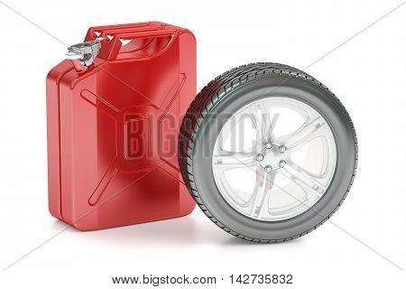 Spar wheel and canister 3D rendering isolated on white background