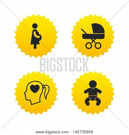 Maternity icons. Baby infant, pregnancy and buggy signs. Baby carriage pram stroller symbols. Head with heart. Yellow stars labels with flat icons. Vector