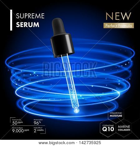 Supreme serum dropper with coenzyme Q10 essence. Premium collagen skin care design with neon blue light rings backgrounds. Skincare treatment design.