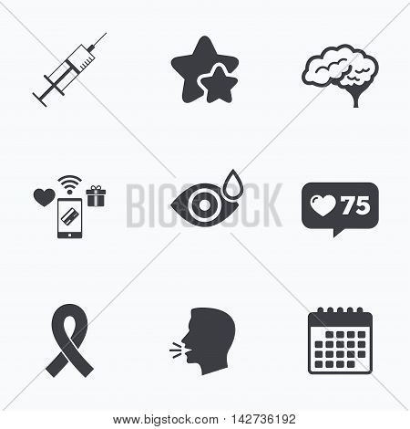 Medicine icons. Syringe, eye with drop, brain and ribbon signs. Breast cancer awareness symbol. Human smart mind. Flat talking head, calendar icons. Stars, like counter icons. Vector