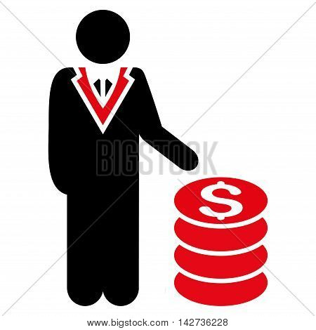 Businessman icon. Vector style is bicolor flat iconic symbol with rounded angles, intensive red and black colors, white background.