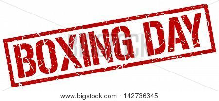 boxing day stamp. red grunge square isolated sign