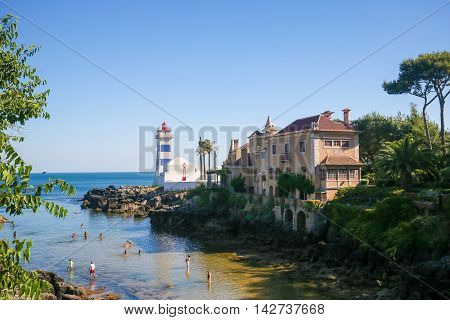 Light House And Casa De Santa Maria In Cascais, Portugal