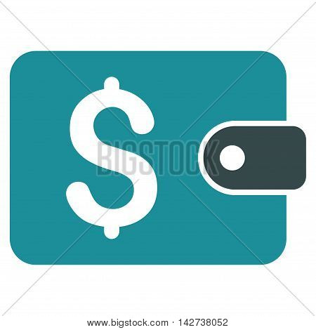 Purse icon. Vector style is bicolor flat iconic symbol with rounded angles, soft blue colors, white background.